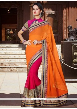 Stylish Pink And Orange Georgette Half And Half Saree