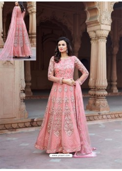Pink Net Heavy Embroidered Designer Floor Length Suit