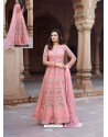 Pink Net Heavy Embroidered Designer Floor Length Suit