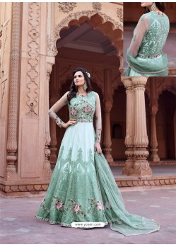 Aqua Net Heavy Embroidered Designer Floor Length Suit