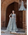 Grey Net Heavy Embroidered Designer Floor Length Suit