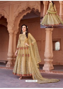Golden Net Heavy Embroidered Designer Floor Length Suit