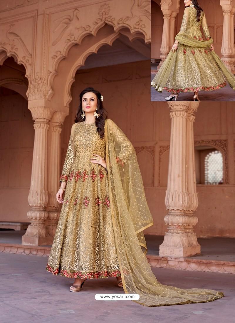 Golden Net Heavy Embroidered Designer Floor Length Suit