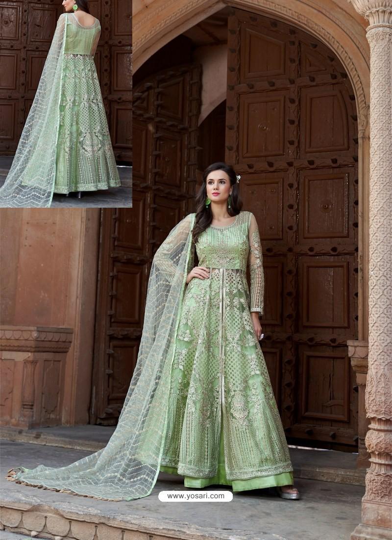 Sea Green Net Heavy Embroidered Designer Floor Length Suit