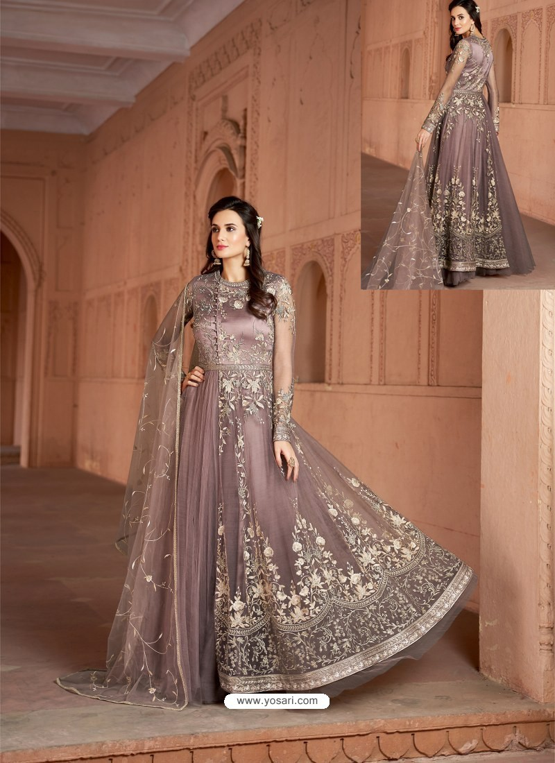 Old Rose Net Heavy Embroidered Designer Floor Length Suit