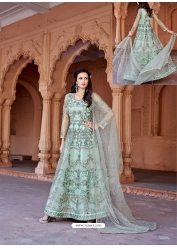 Sky Blue Net Heavy Embroidered Designer Floor Length Suit