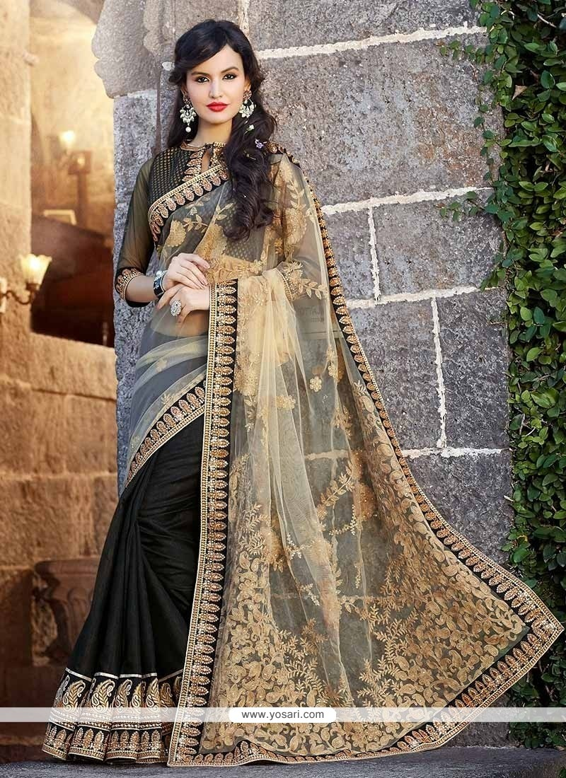 Black And Cream Art Silk Half And Half Saree