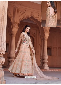 Peach Net Heavy Embroidered Designer Floor Length Suit