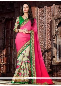 Cream And Pink Georgette Half And Half Saree