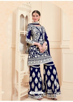 Navy Blue Georgette Designer Sarara Suit