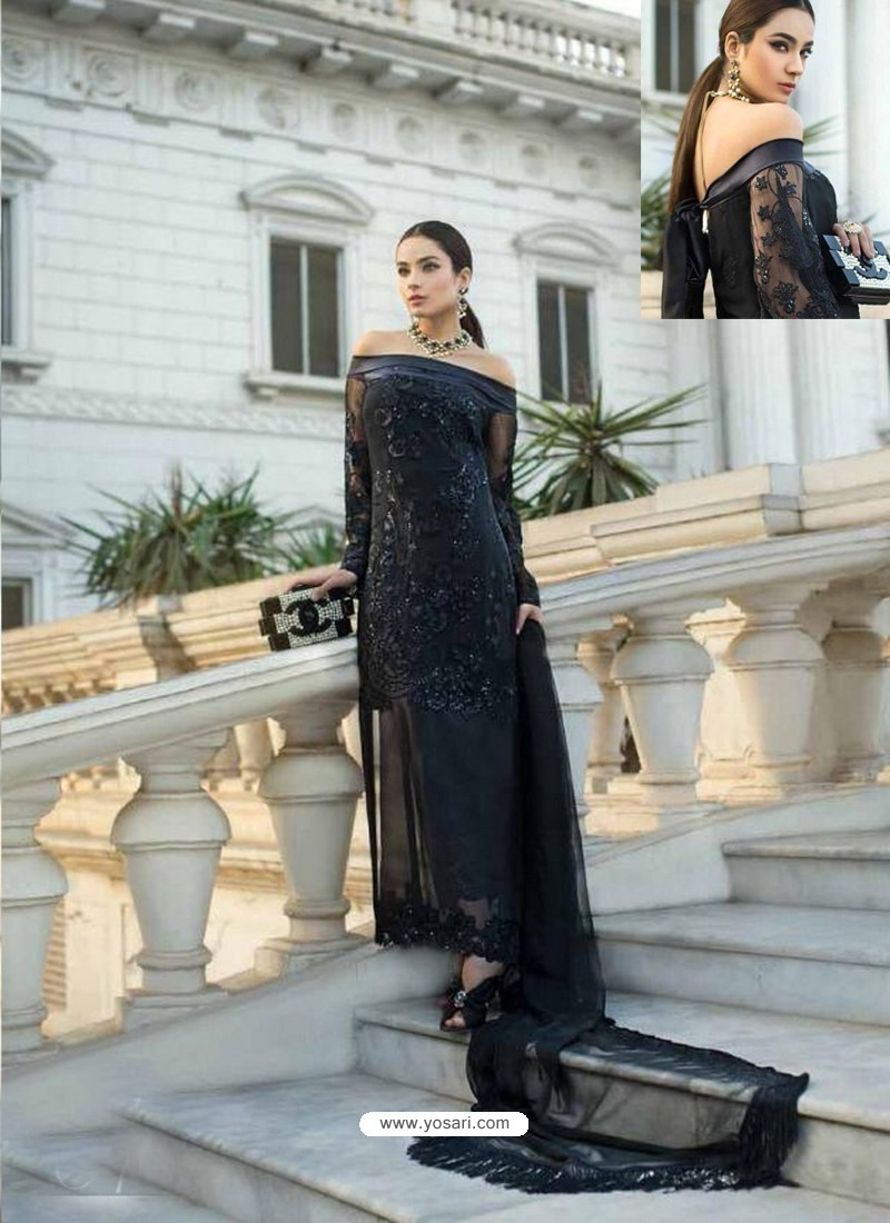 Black Mono Heavy Net Heavy Embroidered Straight Suit