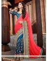 Red And Blue Jacquard Half And Half Saree