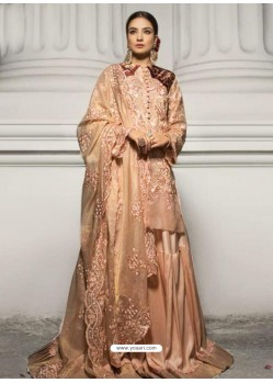 Cream Heavy Organza Heavy Embroidered Floor Length Suit