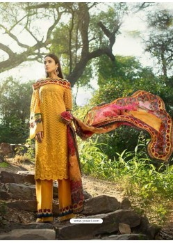 Mustard Faux Georgette Heavy Embroidered Straight Suit