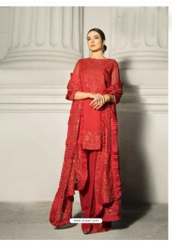Red Faux Georgette Heavy Embroidered Straight Suit