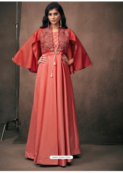 Light Red Triva Satin Silk Embroidered Designer Gown