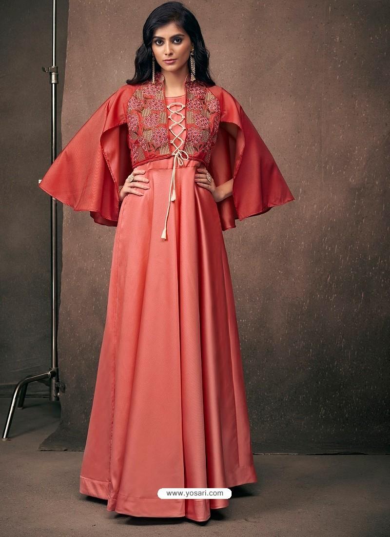 Light Red Triva Satin Silk Embroidered Designer Gown