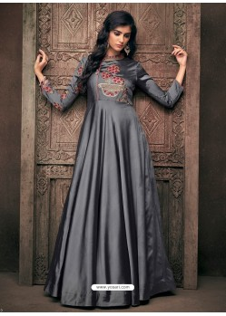 Grey Triva Satin Silk Embroidered Designer Gown