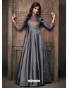 Grey Triva Satin Silk Embroidered Designer Gown