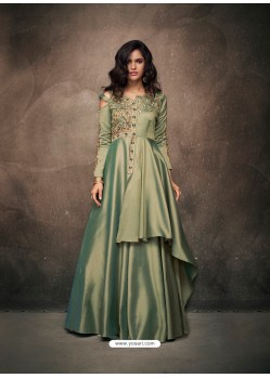 Mehendi Triva Satin Silk Embroidered Designer Gown