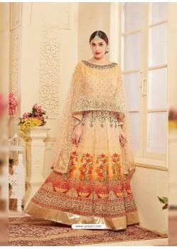 Light Orange Heavy Georgette Digital Printed Designer Gown