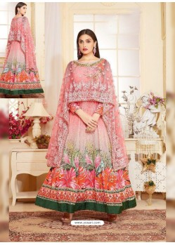 Light Pink Heavy Georgette Digital Printed Designer Gown