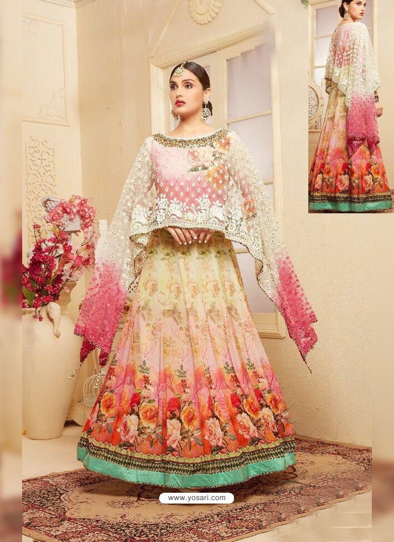 Multi Colour Heavy Georgette Digital Printed Designer Gown