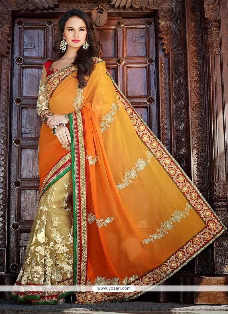 Flashy Beige And Orange Net Half And Half Saree