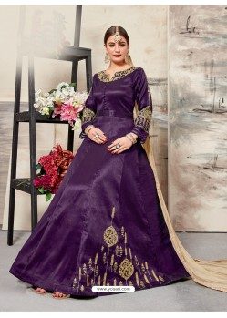 Purple Silk Mulberry Embroidered Floor Length Suit