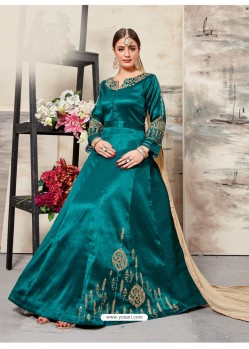 Teal Silk Mulberry Embroidered Floor Length Suit