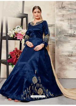 Navy Blue Silk Mulberry Embroidered Floor Length Suit