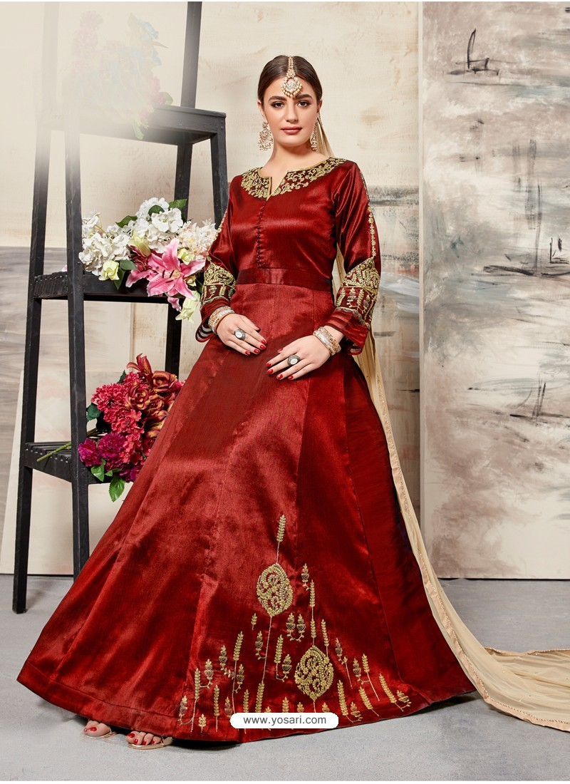 Red Silk Mulberry Embroidered Floor Length Suit