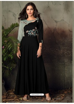 Black Heavy Rayon Embroidered Gown