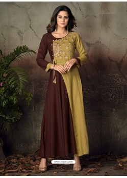 Coffee And Beige Heavy Rayon Embroidered Gown