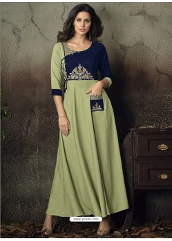 Sea Green Heavy Rayon Embroidered Gown
