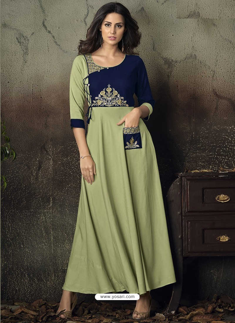 1ce6aace1ef Buy Sea Green Heavy Rayon Embroidered Gown