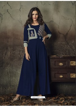 Navy Blue Heavy Rayon Embroidered Gown
