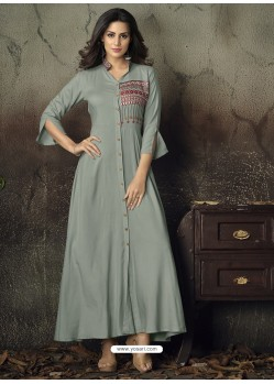 Grey Heavy Rayon Embroidered Gown