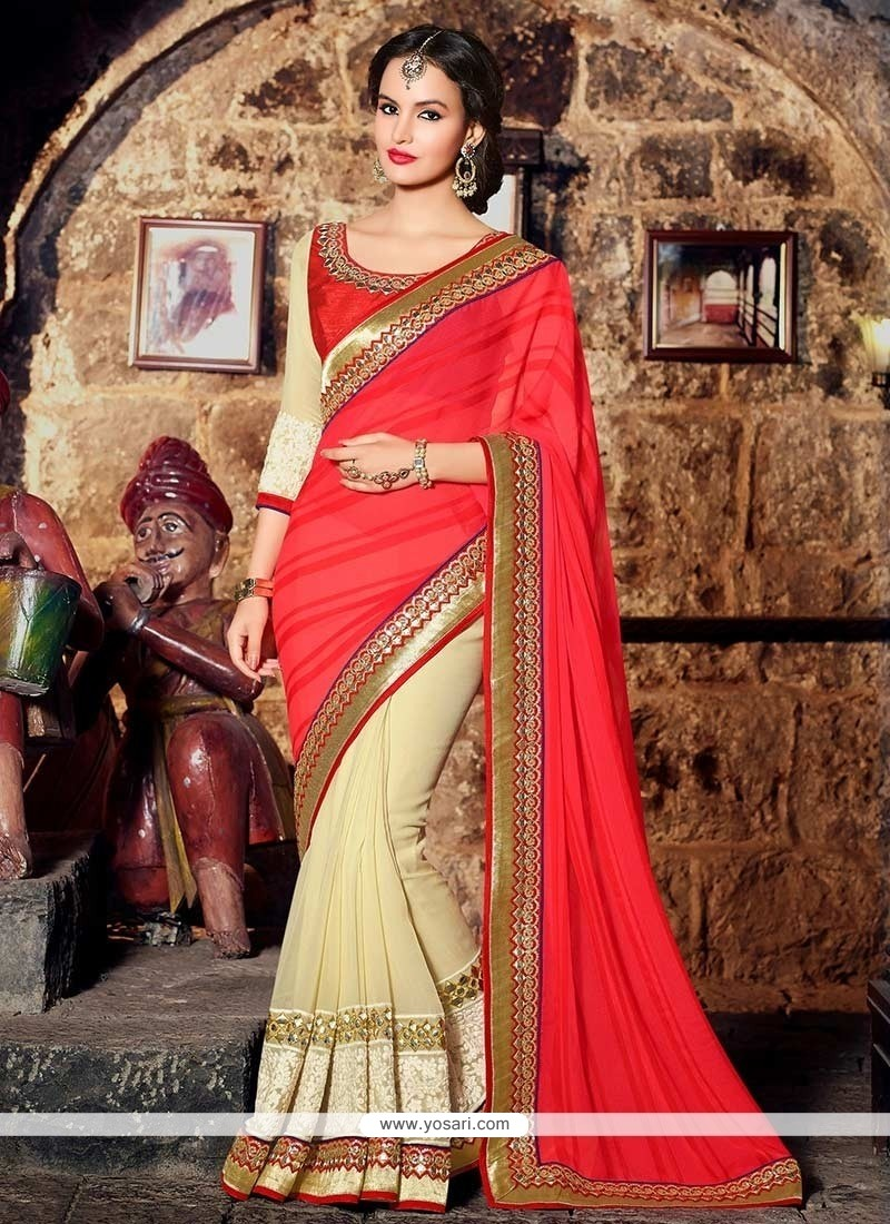 Cream And Red Chiffon Half And Half Saree