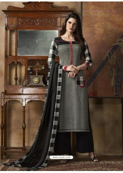 Black And Grey South Cotton Printed Straight Suit