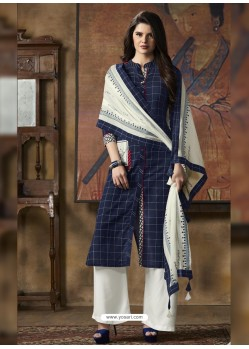 Navy And White South Cotton Printed Straight Suit