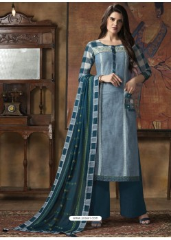 Teal Blue South Cotton Printed Straight Suit