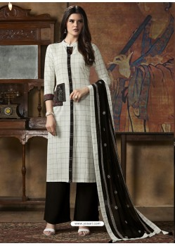 White And Black South Cotton Printed Straight Suit