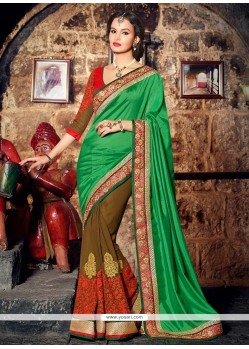 Classy Green Satin Half And Half Saree