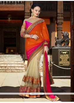 Pretty Orange And Cream Net Half And Half Saree
