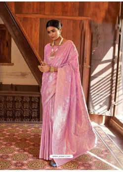 Pink Kansula Silk Jacquard Worked Designer Saree