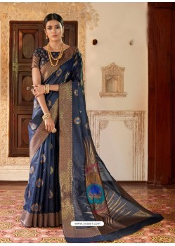 Navy Blue Kansula Silk Jacquard Worked Designer Saree