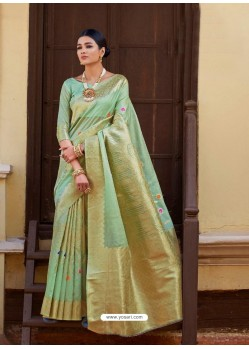 Sea Green Kansula Silk Jacquard Worked Designer Saree