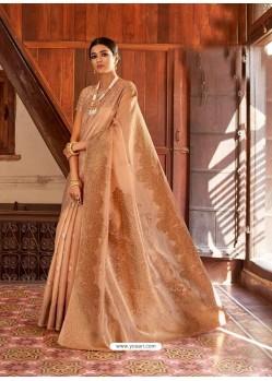 Beige Kansula Silk Jacquard Worked Designer Saree