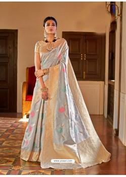 Silver Kansula Silk Jacquard Worked Designer Saree